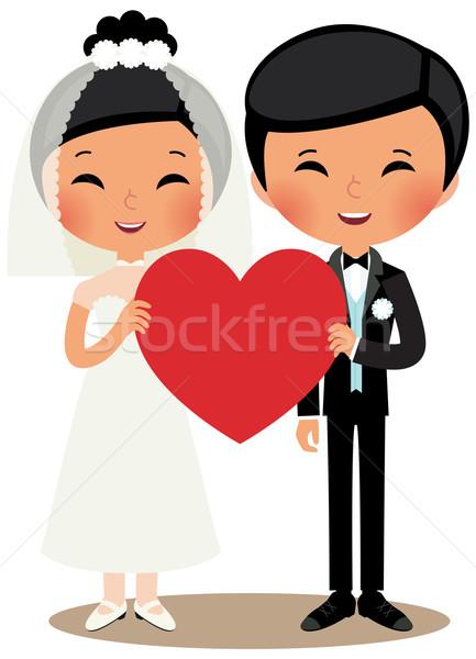 Chińczyk para oblubienicy pan młody młodych ślub Zdjęcia stock © UrchenkoJulia