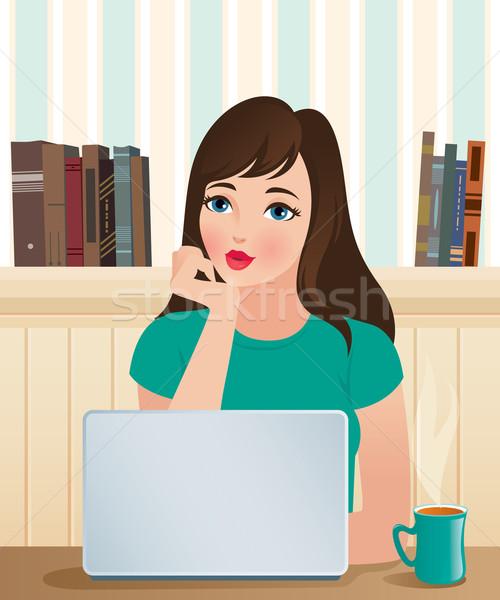 Girl and a laptop Stock photo © UrchenkoJulia