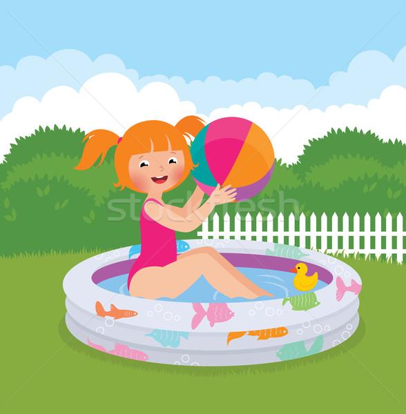 девочку надувной бассейна задний двор складе Сток-фото © UrchenkoJulia