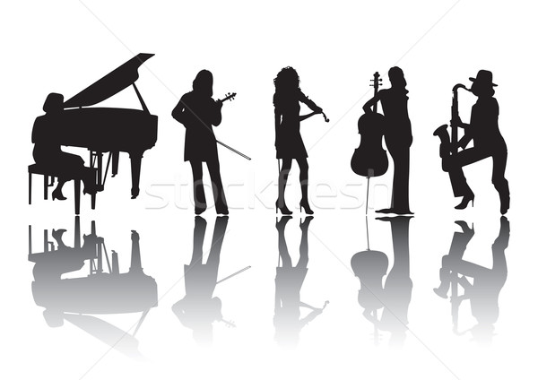 Muzycy sylwetki kobiet gry inny muzyki Zdjęcia stock © UrchenkoJulia