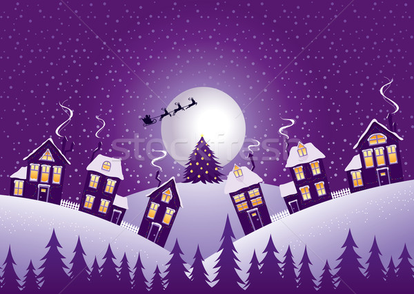 Foto stock: Violeta · natal · noite · alcance · floresta · casa