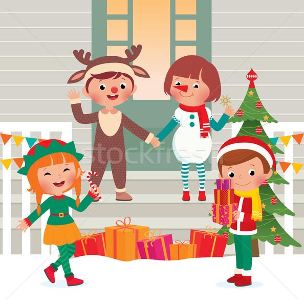 Dzieci christmas kostiumy stoją domu kostium Zdjęcia stock © UrchenkoJulia