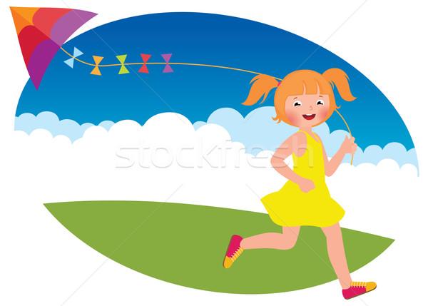 Dziecko dziewczyna Kania czas wektora cartoon Zdjęcia stock © UrchenkoJulia