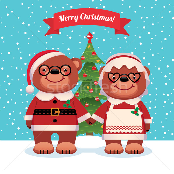 Santa Claus and his wife bears Christmas Stock photo © UrchenkoJulia