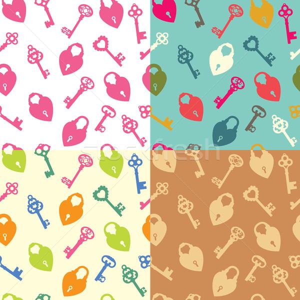 Naadloos sleutels hart vector vorm textuur Stockfoto © UrchenkoJulia