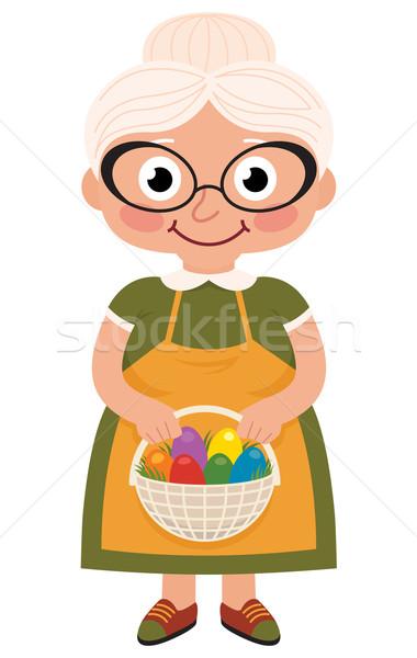 Babcia koszyka Easter Eggs czas wektora cartoon Zdjęcia stock © UrchenkoJulia