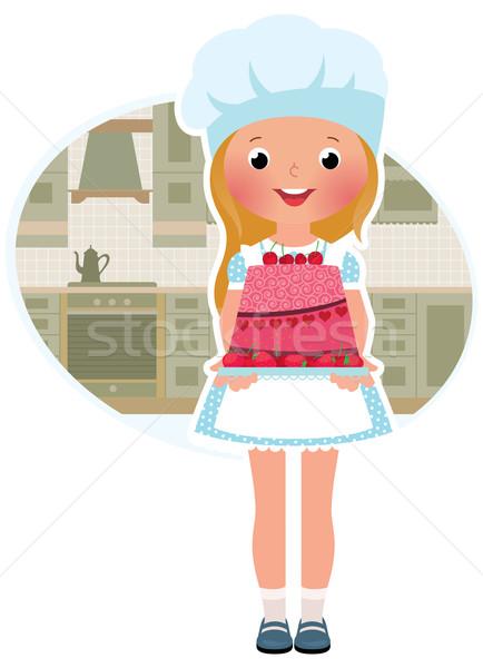 Menina cozinhar bolo estoque comida sorrir Foto stock © UrchenkoJulia