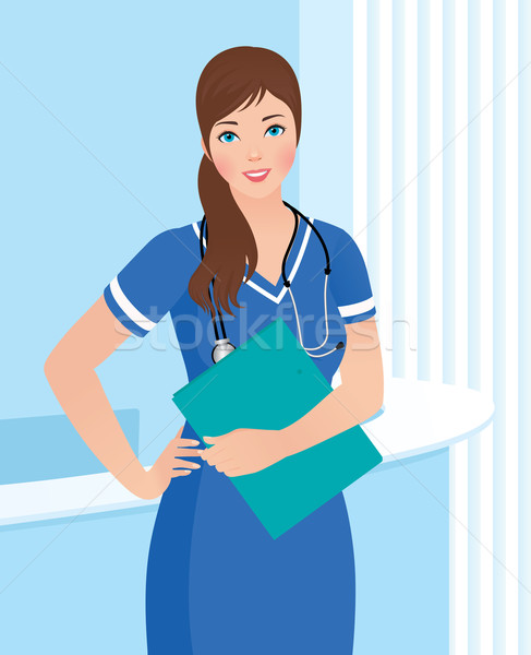 Uśmiechnięty pielęgniarki lekarza kliniki wnętrza kobiet Zdjęcia stock © UrchenkoJulia