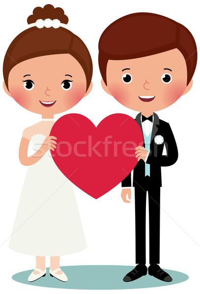Pan młody oblubienicy ilustracja biały serca Zdjęcia stock © UrchenkoJulia