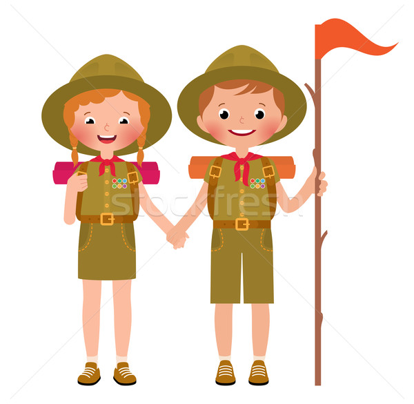 Vector illustration of children boy and girl scouts Stock photo © UrchenkoJulia