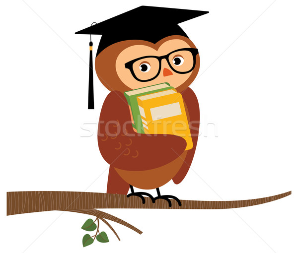 Academic owl holding a book sitting on a branch Stock photo © UrchenkoJulia