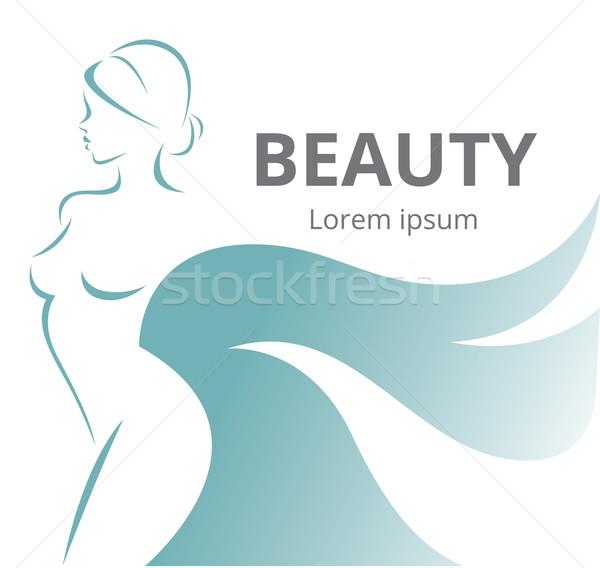 Streszczenie logo stylizowany piękna kobieta profil sylwetka Zdjęcia stock © UrchenkoJulia