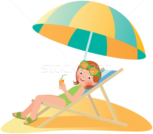 Menina praia espreguiçadeira estoque vetor desenho animado Foto stock © UrchenkoJulia