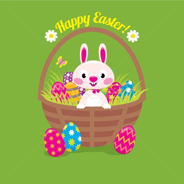 Easter Bunny mand paaseieren groene voorraad vector Stockfoto © UrchenkoJulia