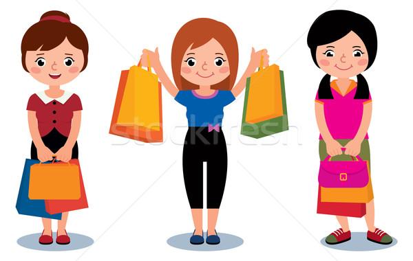 Mujeres clientes paquetes compras Cartoon feliz Foto stock © UrchenkoJulia