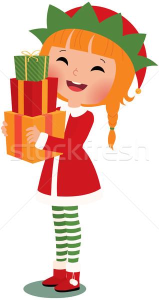 Christmas elf biały prezenty twarz szczęśliwy Zdjęcia stock © UrchenkoJulia