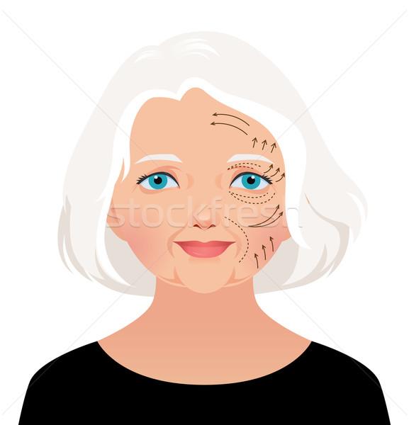 Cosmetische gezicht lift mooie volwassen Stockfoto © UrchenkoJulia