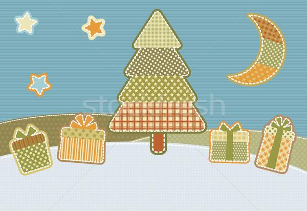 Patchwork Noël illustration stylisé maison arbre Photo stock © UrchenkoJulia