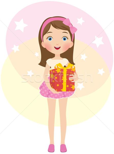 Zdjęcia stock: Urodziny · dar · dziewczyna · piękna · suknia