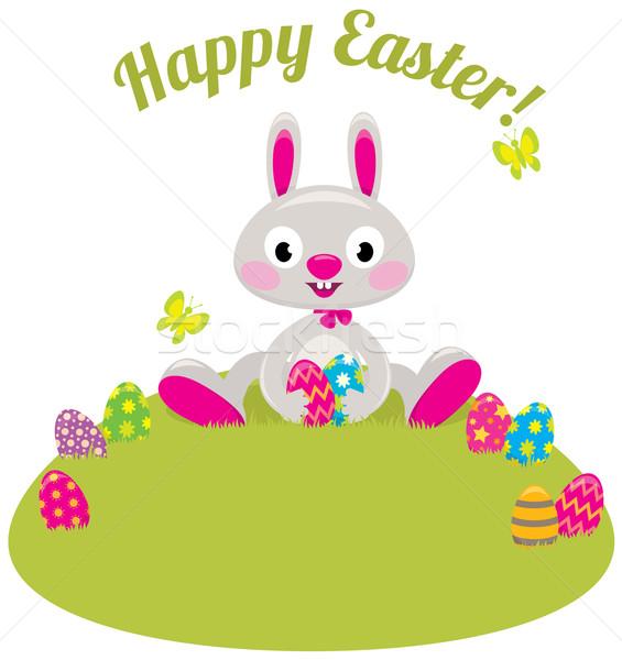 Easter Bunny gekleurde eieren gras voorraad cartoon geschilderd Stockfoto © UrchenkoJulia