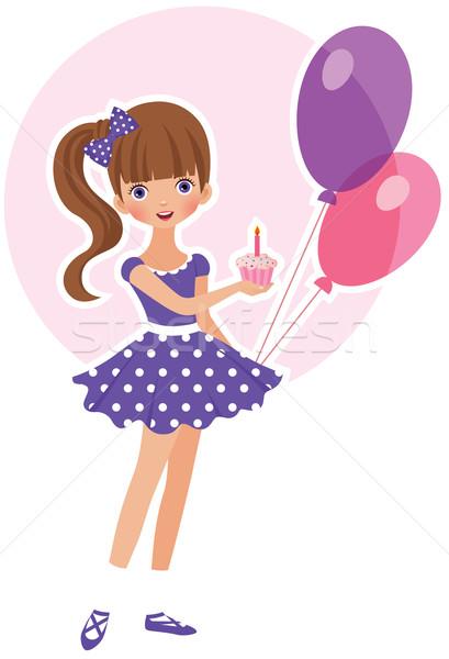 Deser urodziny słodkie dziewczyna ciasto dziecko Zdjęcia stock © UrchenkoJulia