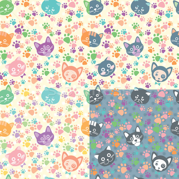 Seamless background cat faces Stock photo © UrchenkoJulia