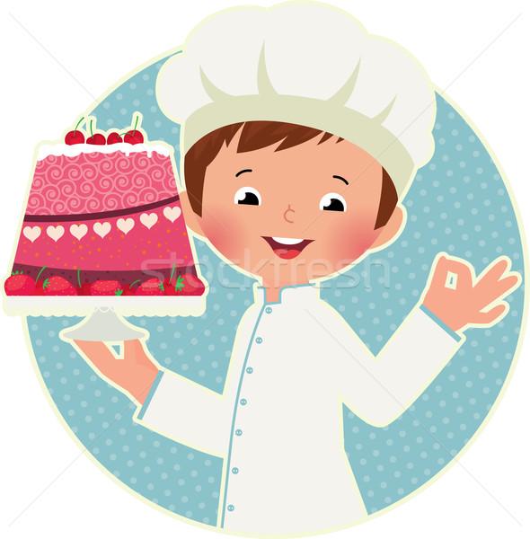 Cocinar torta stock cute chef Foto stock © UrchenkoJulia