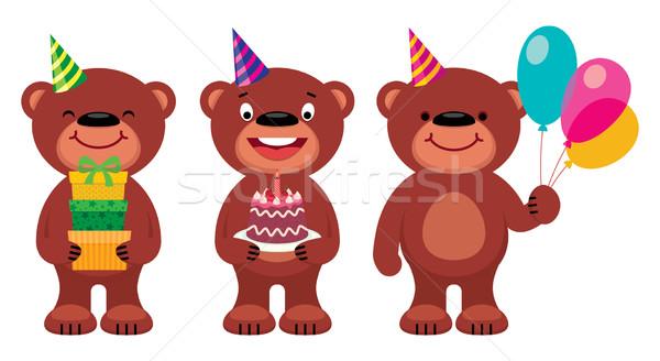 Miś urodziny cartoon ilustracja zestaw baby Zdjęcia stock © UrchenkoJulia