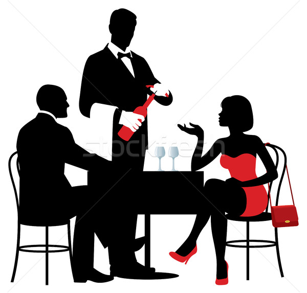 Vector silhouettes of people sitting at the table of the restaur Stock photo © UrchenkoJulia