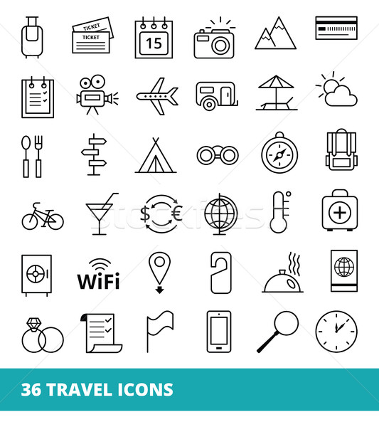 Set of linear vector web icons on a theme Travel and Tourism Stock photo © UrchenkoJulia