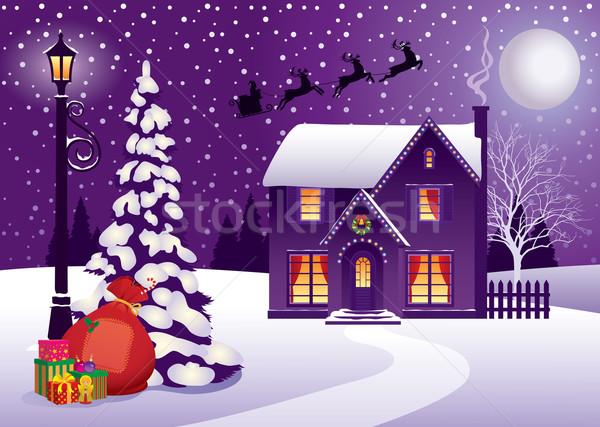 Christmas w. wakacje charakter krajobraz domu Zdjęcia stock © UrchenkoJulia
