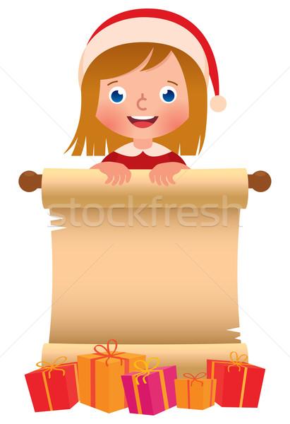 女の子 サンタクロース 帽子 スクロール ボックス クリスマス ストックフォト © UrchenkoJulia