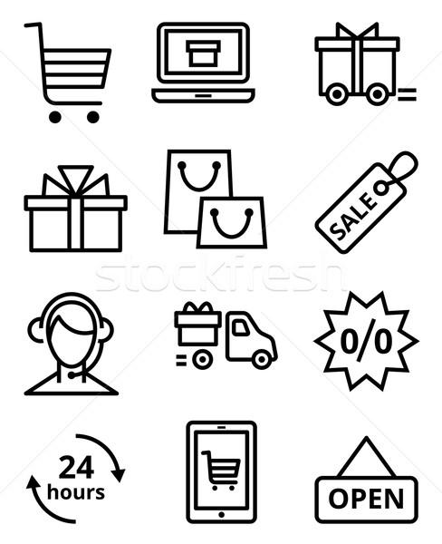 Sklep internetowy wektora ikona zakupy projektu Zdjęcia stock © UrchenkoJulia