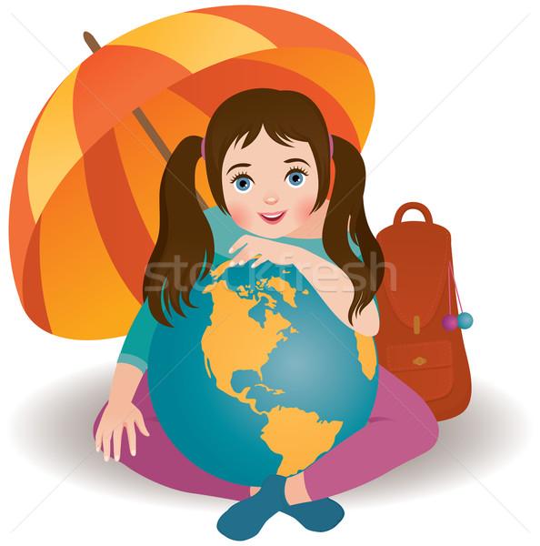 Mały podróżnik cute dziewczynka dziewczyna dziecko Zdjęcia stock © UrchenkoJulia