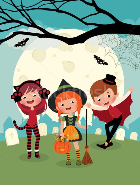 Dzieci halloween strony ilustracja kostium potwory Zdjęcia stock © UrchenkoJulia