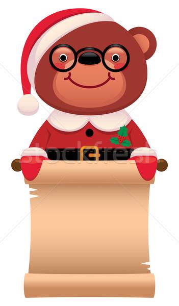 Teddy bear Santa Claus with a scroll Christmas Stock photo © UrchenkoJulia