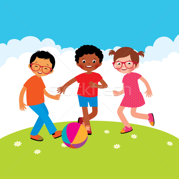 Stock photo: Group of kids playing with a ball stock vector illustration