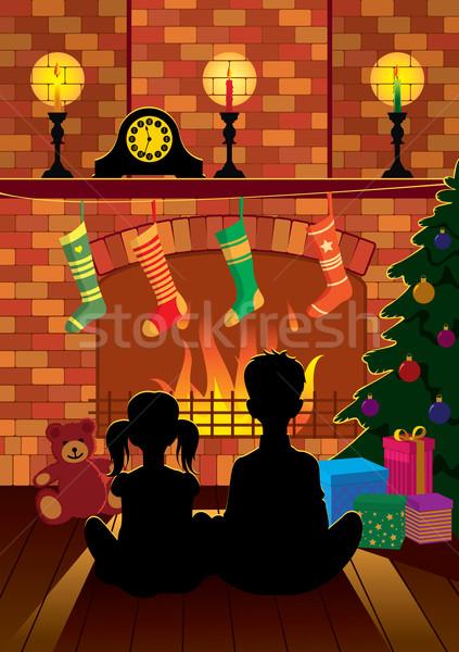 Christmas ognisko dzieci posiedzenia noc Zdjęcia stock © UrchenkoJulia