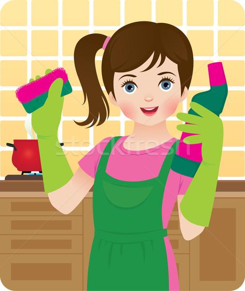 Mały pomocnik dziewczynka pomoc dziewczyna pracy Zdjęcia stock © UrchenkoJulia