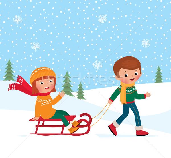 子供 冬 実例 少年 少女 幸せ ストックフォト © UrchenkoJulia