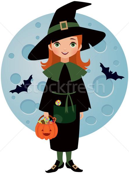 Mały witch halloween księżyc dziewczyna Zdjęcia stock © UrchenkoJulia