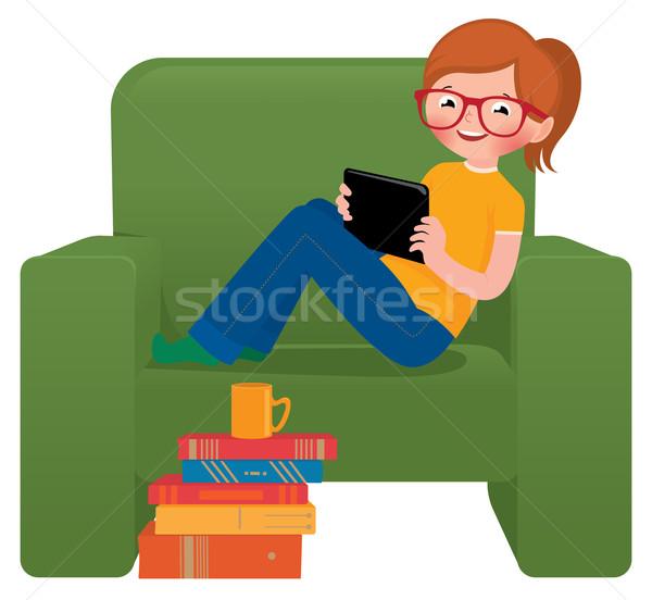 Kız oturma sandalye tablet stok vektör Stok fotoğraf © UrchenkoJulia