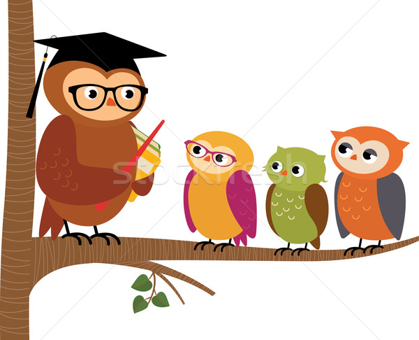 5183130_stock vector owl teacher and his students