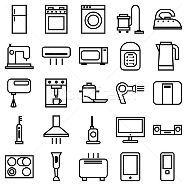 Home Appliances linear icons Stock photo © UrchenkoJulia