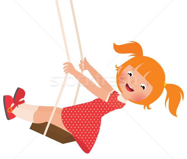 Dziewczyna huśtawka czas wektora cartoon Zdjęcia stock © UrchenkoJulia
