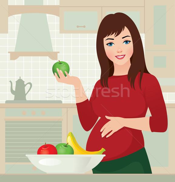 Gebelik sağlıklı gıda hamile kadın elma el gıda Stok fotoğraf © UrchenkoJulia
