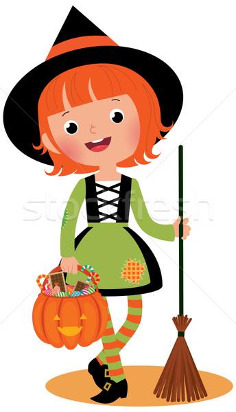 Halloween witch biały dynia dziecko pomarańczowy Zdjęcia stock © UrchenkoJulia