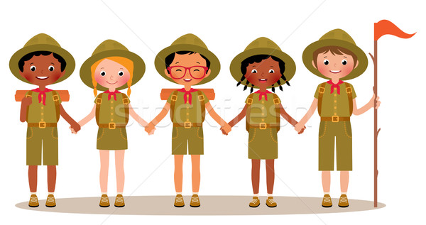 Group of children boys and girls scouts in the uniform Stock photo © UrchenkoJulia