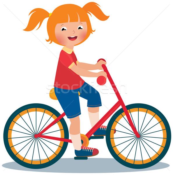 Dziecko dziewczyna rowerów czas wektora cartoon Zdjęcia stock © UrchenkoJulia
