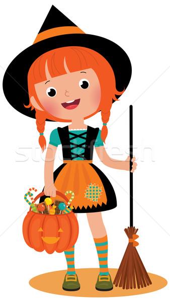 Witch halloween miotła dynia koszyka biały Zdjęcia stock © UrchenkoJulia